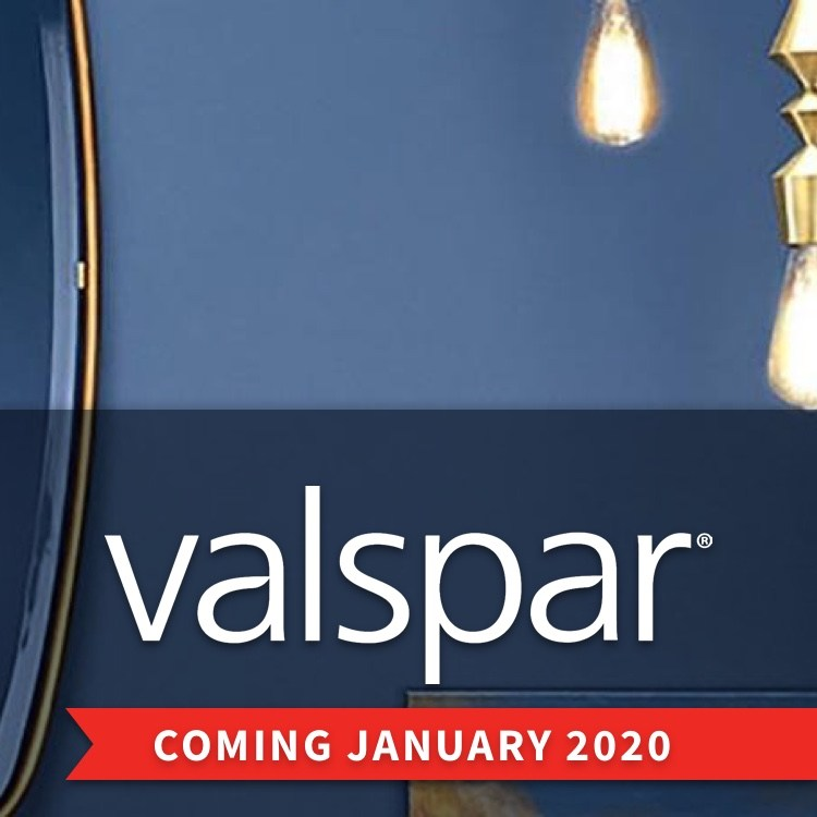 Valspar blue-painted bathroom with Coming January 2020