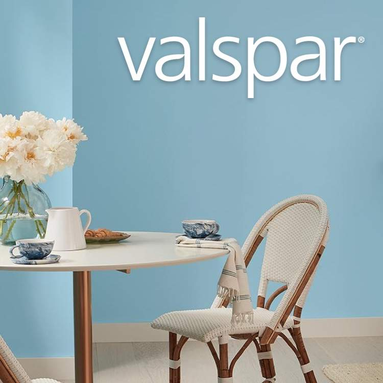 Valspar blue-painted kitchen with logo
