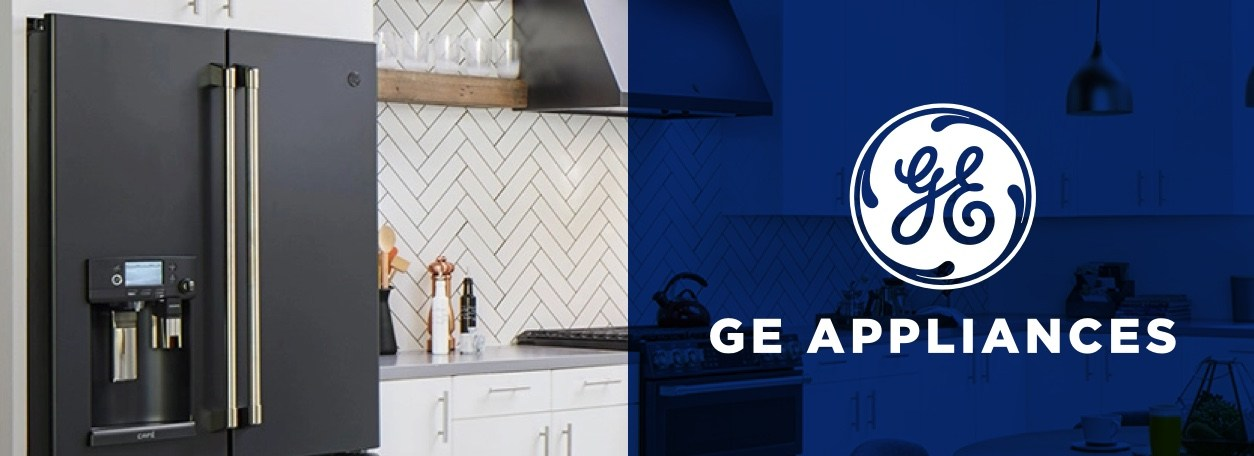 GE Appliances logo with modern refrigerator in background