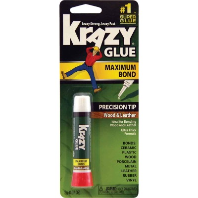 Krazy Glue 0.07 Oz. Maximum Bond Wood Leather Super Glue with Precision Tip