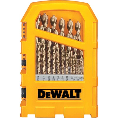 DeWalt 29-Piece Gold Ferrous Pilot Point Drill Bit Set, 1/16 In. thru 9/32 In.