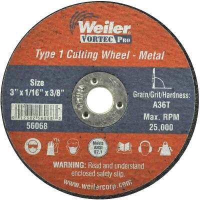Weiler Vortec Type 1 3 In. x 1/16 In. x 3/8 In. Metal/Plastic Cut-Off Wheel