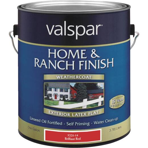 Valspar Exterior Latex Self Priming Flat Home And Ranch Finish, Brilliant Red, 1 Gal.