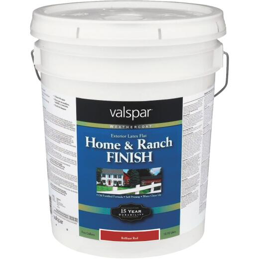 Valspar Exterior Latex Self Priming Flat Home And Ranch Finish, Brilliant Red, 5 Gal.